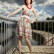 Nice redhead on river flood — Stock Photo