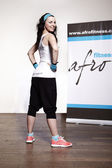 Black hair sport fanatic lady — 图库照片