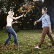 Funny autumn game — Stock Photo