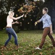 Funny autumn game — Stock Photo #35112465