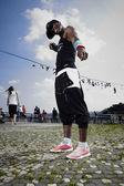 Black fitness man posing — Stock Photo