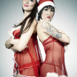 Постер, плакат: Pretty Santa ladies posing in studio
