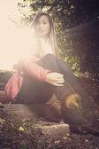 Girl in direct sunlight — Stock Photo