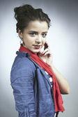 Pretty girl posing for portrait in studio — Stock Photo