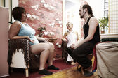 Pregnant woman getting informations before massage — Stock Photo