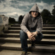 Smiling man in hood — Stock Photo #48564837