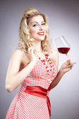 Pretty girl with glass of wine — Stock Photo