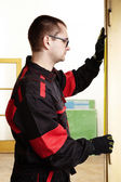Craftsman with measuring tape — Stock Photo