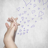 Love hand and heart — Stock Photo