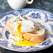 Bruschetta with poached egg — Stock Photo