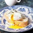 Bruschettwith poached egg — Stock Photo #24480585