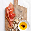 Cured Meat, Cheese and bread - Stock Photo