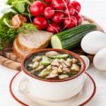Okroshka - Russian kvass Cold Soup with Vegetables — Stock Photo #24480813