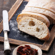 Crusty bread ciabatta with Sun dried tomatoes — Stock Photo