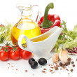 Greece vegetable salad ingredients - Stock Photo