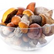 Raw orange cap boletus in transparent glass bowl - Stock Photo