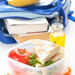 Lunch box with sandwich apple and milk — Stock Photo
