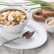 Cold kefir soup with chopped vegetables and meat — Stockfoto