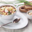 Cold kefir soup with chopped vegetables and meat — 图库照片