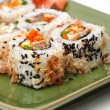 Sushi Set: sushi rolls with rice, fish and seaweed - Stock Photo