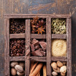 Royalty-Free Stock Photo: Assortment of spices and coffee beans in wooden box