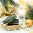 Holiday background with Gift box and golden ribbon — Stock Photo