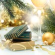 Stock Photo: Holiday background with Gift box and golden ribbon