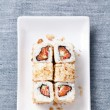 Sushi rolls with rice, fish and seaweed - Stock Photo