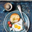 Traditional breakfast eggs with coffee — Stock Photo