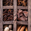 Spices Set to make coffee in wooden box - Stok fotoğraf