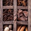 Spices Set to make coffee in wooden box — Stock Photo