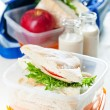 Lunch box with sandwich apple and milk — Stock Photo #24482595