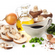 Fresh mushrooms and vegetables ingredients - Stock Photo