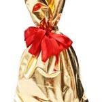 Golden gift sack — Stock Photo