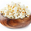 Stock Photo: Wooden bowl with popcorn