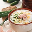 Foto Stock: Cold kefir soup with chopped vegetables and meat