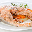 Salmon steak on white plate - Stock Photo