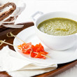 Asparagus soup with smoked salmon - Stock Photo