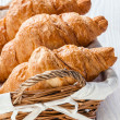 Croissants in basket — Stock Photo