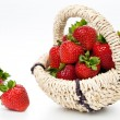 Strawberry in wattled basket — Stok fotoğraf