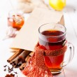 Cup of Hot tea with cinnamon sticks, lemon and star anise — Stock Photo #24484119