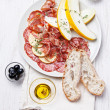 Stock Photo: Platter of Assorted Cured Meats and Melon