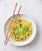 Asian noodles with leek — Stock Photo
