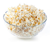Glass bowl with popcorn — Stock Photo