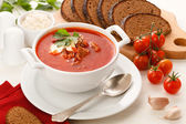 National red borsch with herbs and spice — Stock Photo