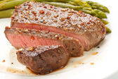 Grilled steak with Green asparagus — Stock Photo