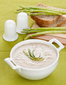 Asparagus soup cream with bread — Stock Photo