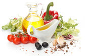 Greece vegetable salad ingredients — Stock Photo