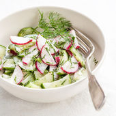 Spring salad with radishes and cucumbers — Stock Photo