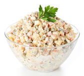 Russian traditional salad olivier with pea — Stock Photo